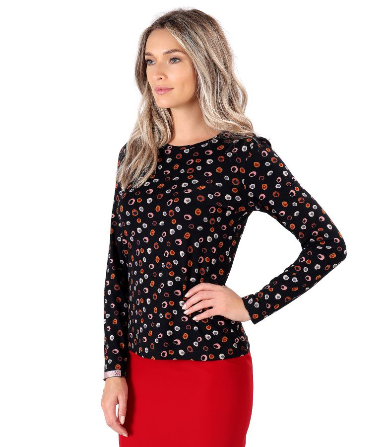 Elastic jersey blouse printed with geometric motifs