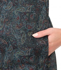 Dress made of thick elastic jersey printed with paisley motifs