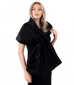 Elegant shawl made of ecological fur with astrakhan type structure