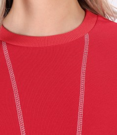 Blouse made of thick cotton with decorative stitching