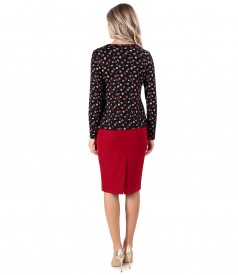 Office outfit with printed elastic jersey skirt and blouse