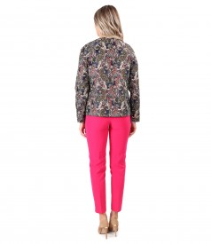 Elegant outfit with short brocade jacket and ankle pants