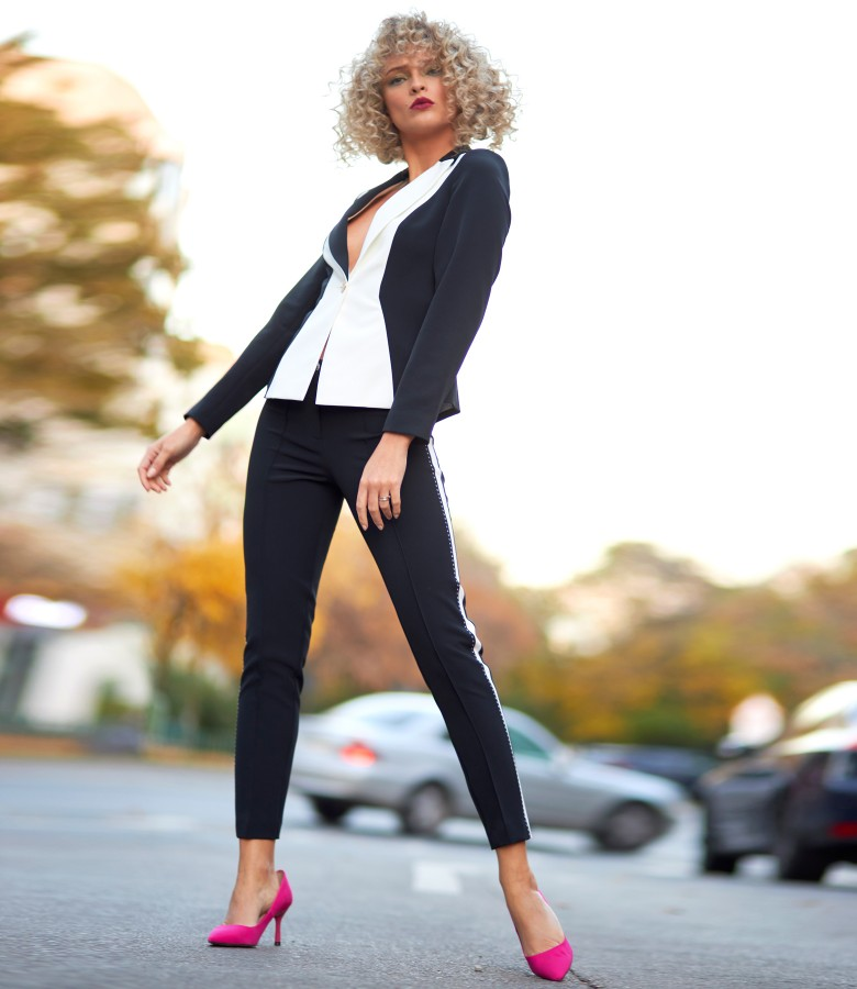 Office woman suit with jacket and fabric pants in two colors