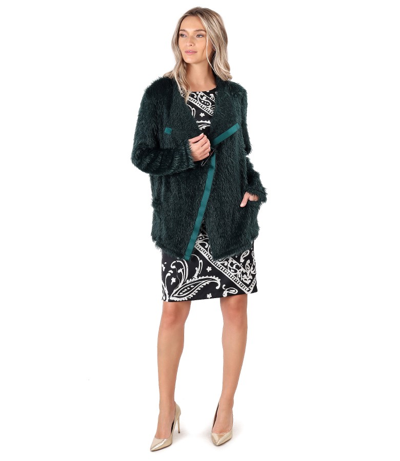 Knitted cardigan and dress with printed satin face