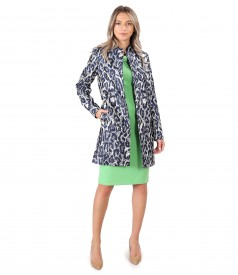 Elegant outfit with brocade jacket with metallic thread and dress