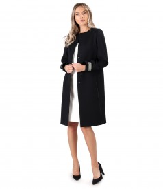 Elegant coat made of wool and fabric dress in two colors.