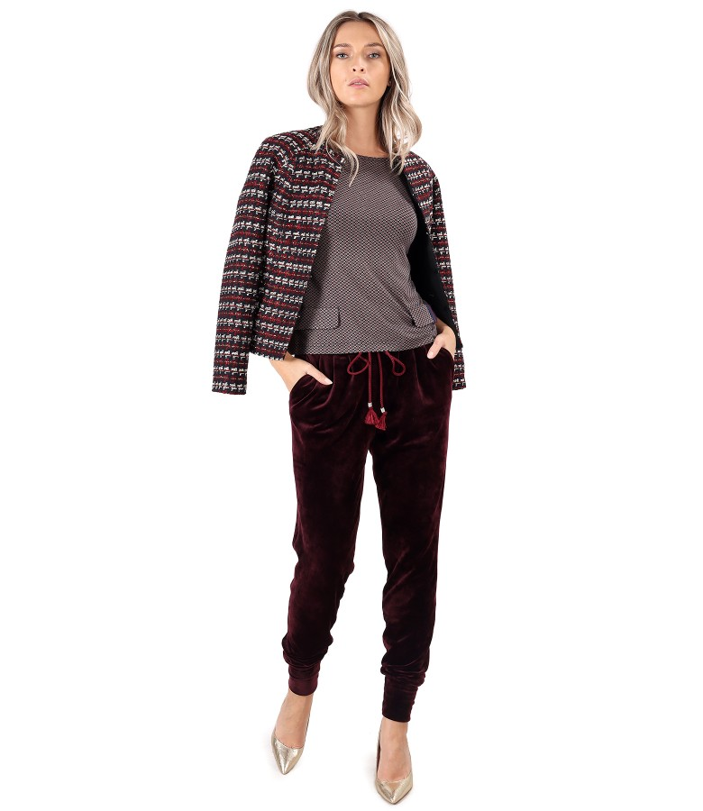 Multicolored loops jacket with elastic velvet pants