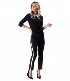 Office outfit with ankle pants and blouse with white collar