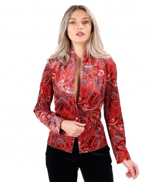 Elastic velvet jacket printed with paisley motifs