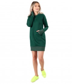 Sweatshirt dress made of thick cotton with front pocket