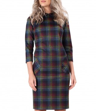 Dress made of thick elastic jersey with plaid and round collar
