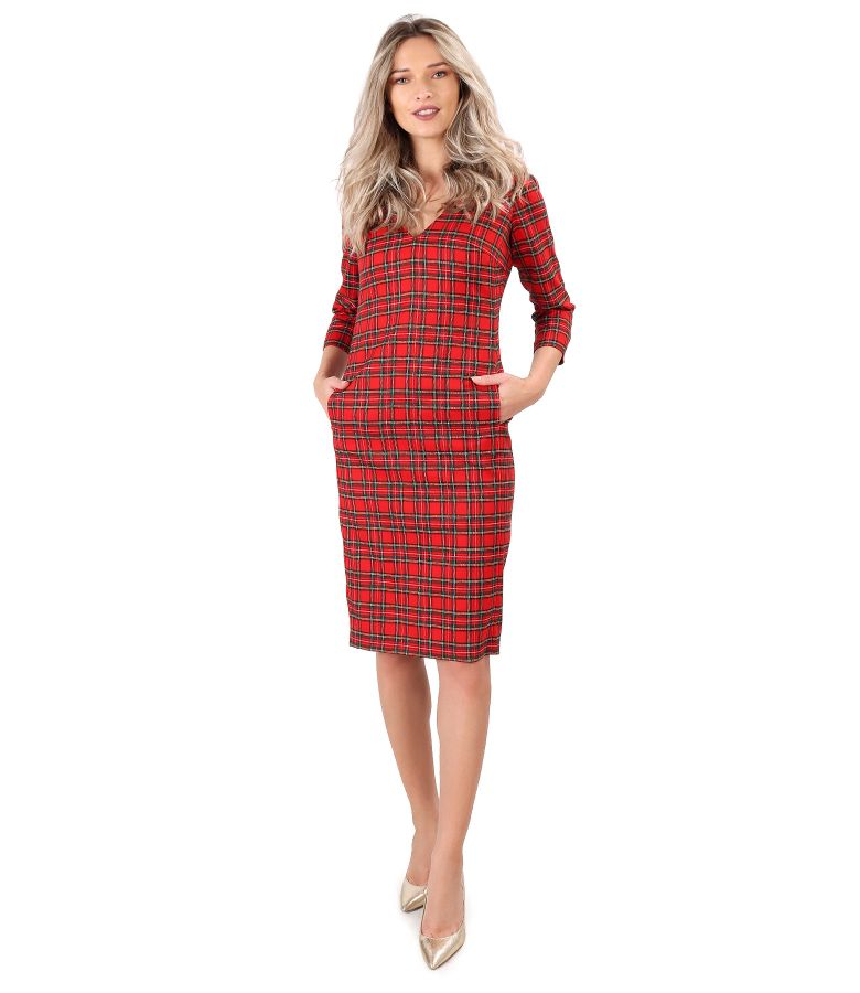 Checkered midi dress with Swarovski crystals on the decolletage