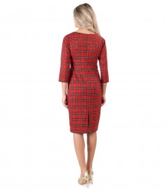 Checkered midi dress with crystals on the decolletage