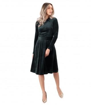 Velvet dress with round collar