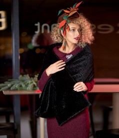 Elegant outfit with ecological fur shawl and curly suit