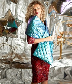 Shawl made of waterproof quilted fabric and velvet dress