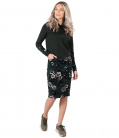 Dress made of thick elastic jersey and brocade velvet with floral motifs