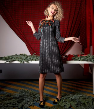 Dress made of printed thick elastic jersey
