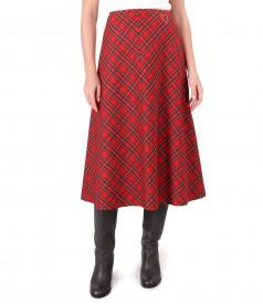 Long flared plaid skirt