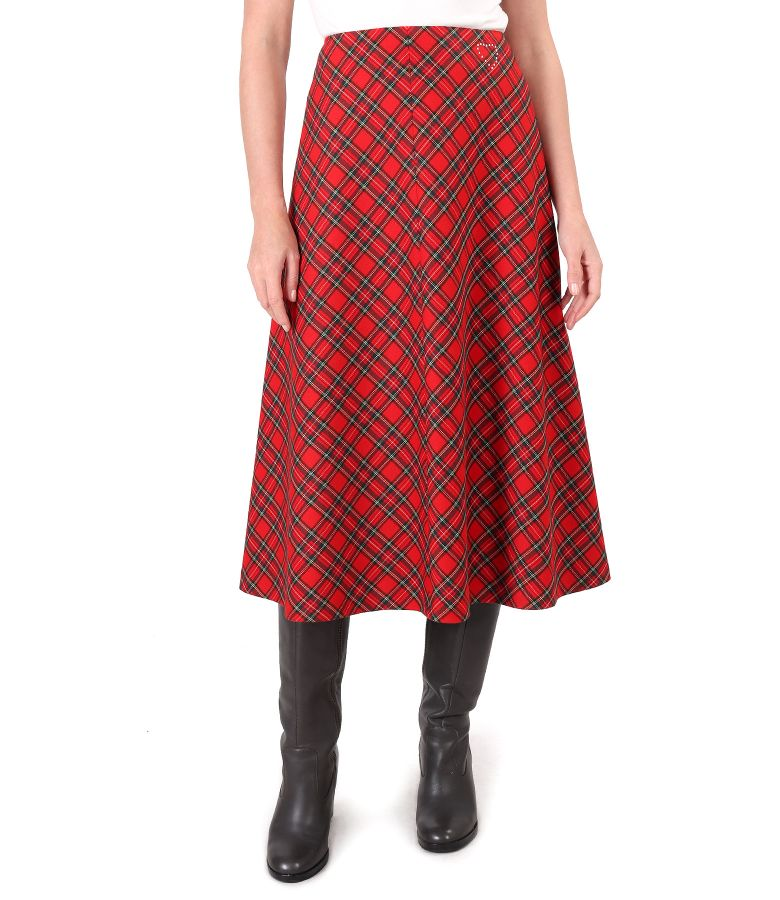 Long flared plaid skirt