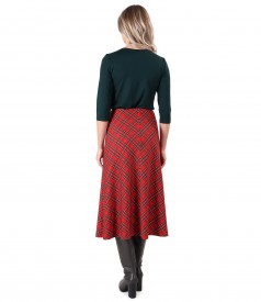 Long flared plaid skirt with elastic jersey blouse