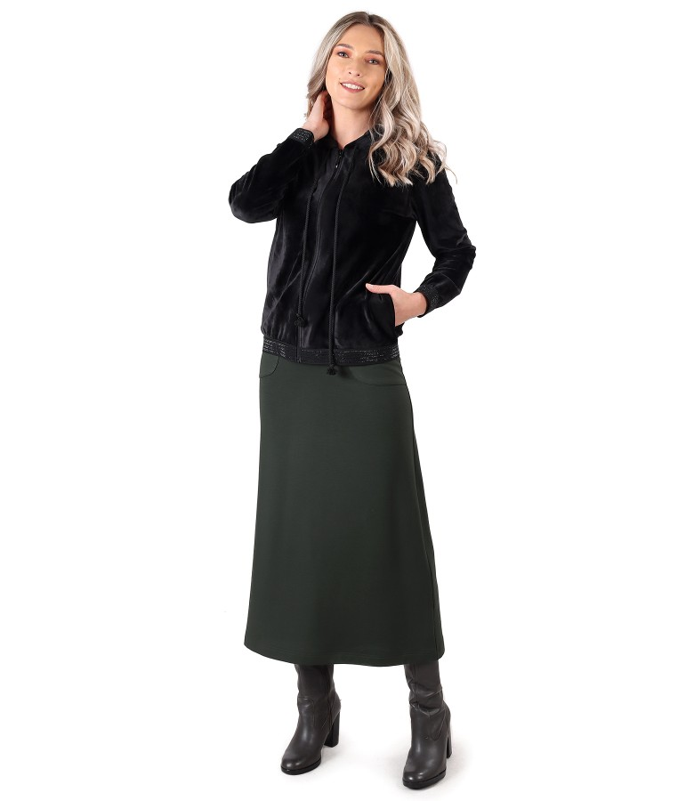 Velvet sweatshirt with long elastic jersey dress
