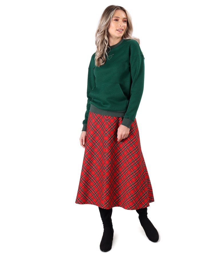 Casual outfit with long plaid skirt and sweatshirt