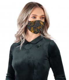 Reusable mask made of elastic jersey embroidered in relief with velvet
