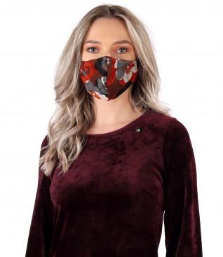 Reusable brocade jersey mask with velvet floral motifs