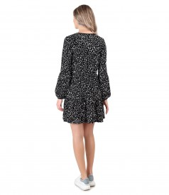 Dress with ruffles made of printed elastic jersey