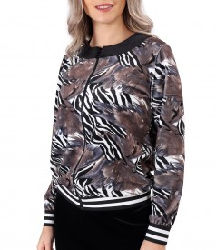 Sweatshirt without hood made of printed elastic velvet