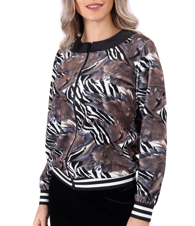 Sweatshirt without hood made of printed elastic velvet