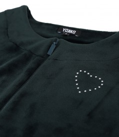 Sweatshirt without hood made of elastic velvet