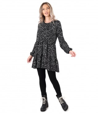 Smart/casual outfit with dress with ruffles and elastic jersey leggings