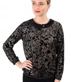 Sweatshirt made of elastic velvet printed with gold motifs