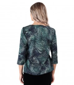 Blouse made of thick elastic jersey printed with geometric motifs