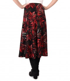 Long flared skirt made of thick elastic jersey