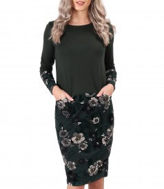 Midi dress made of soft elastic jersey and brocade velvet with floral motifs