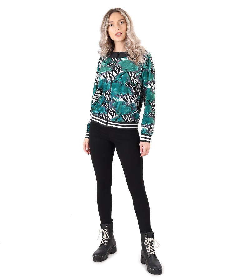 Sweatshirt without hood and elastic jersey leggings
