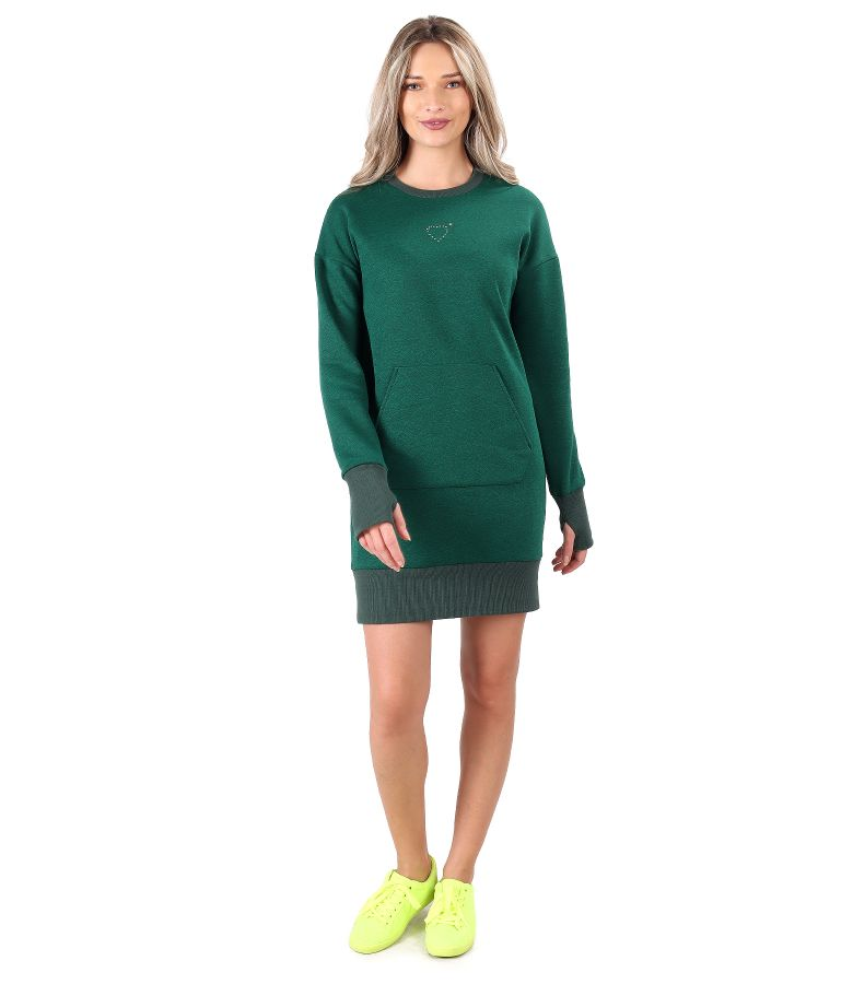 Sweatshirt dress made of cotton with front pocket