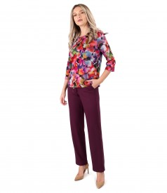 Blouse made of thick elastic jersey and casual pants