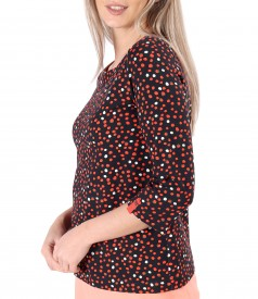 Blouse made of printed elastic jersey