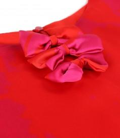 Organza veil midi dress printed with floral motifs