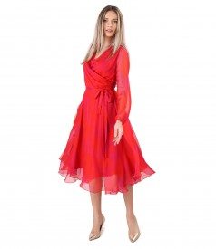 Elegant organza veil dress printed with floral motifs