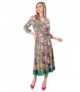 Printed dress with floral motifs and cord at the waist