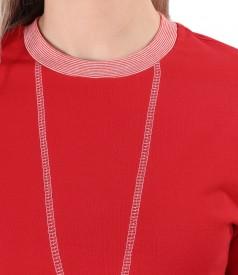 Cotton sweatshirt with decorative stitching