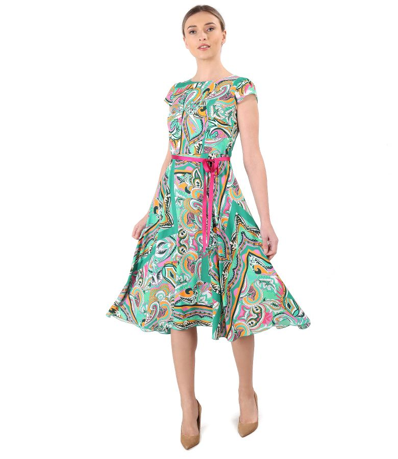 Elegant printed viscose dress
