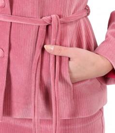 Jacket with velvet cord