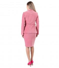 Jacket and tapered skirt made of velvet