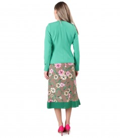 Long dress printed with floral motifs with jacket made of elastic fabric